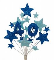 Number age 40th birthday cake topper decoration in shades of blue - free postage